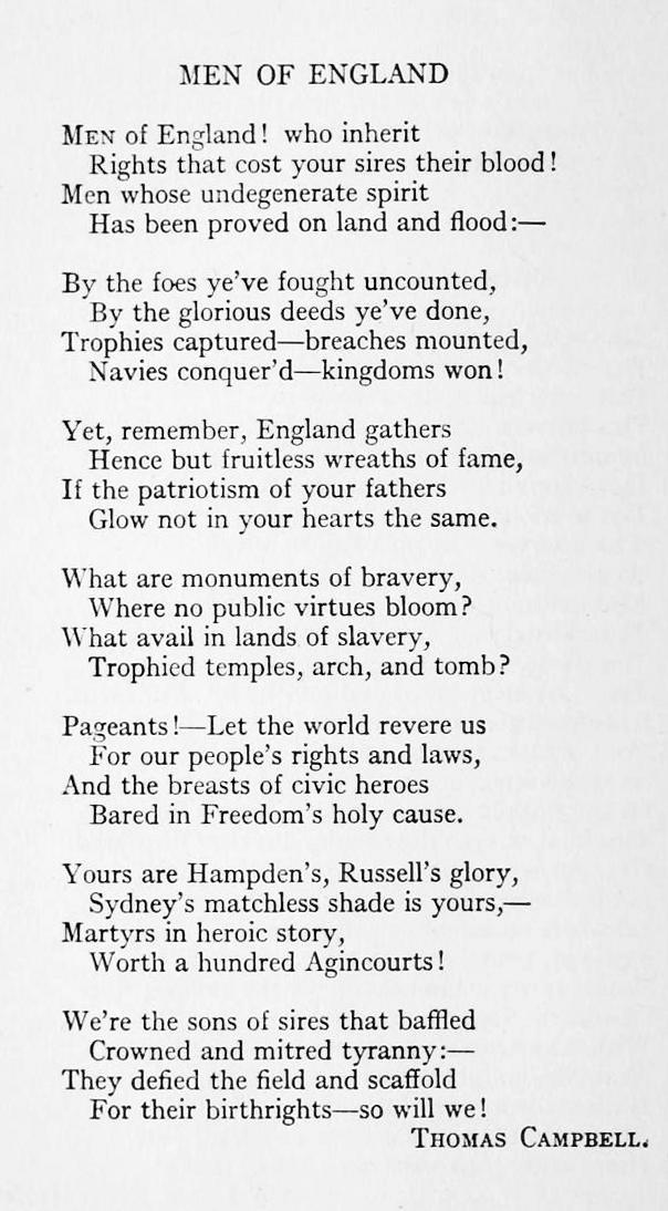 To the men of england