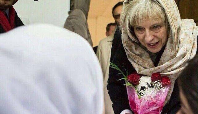 theresa May headscarf